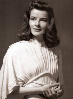 Lovely Katharine Hepburn, sported pant suits in lieu of dresses in the 1930's & '40's...Fashion trailblazer.