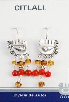 Palomas Citlali con ambar y coral |platanimal