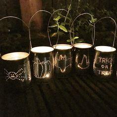 Tea Light Lanterns, Tin Can Lanterns, Lanterns Decor, Metal Lanterns, Theme Halloween, Diy Halloween Decorations, Halloween Crafts, Diy Halloween Lanterns, Halloween 2020