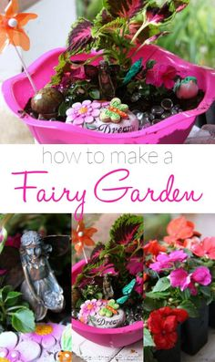 How to make a Fairy Garden | Fairy Garden Tutorial | Dollar Store Fairy Garden | Summer Activities for Kids | Spring Gardening with Kids | http://www.madewithHAPPY.com