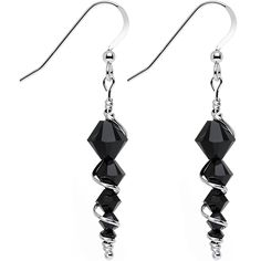 056d53696 Handcrafted 925 Silver Black Icicle Drop Earrings Created with Swarovski  Crystals - C612CWUISND