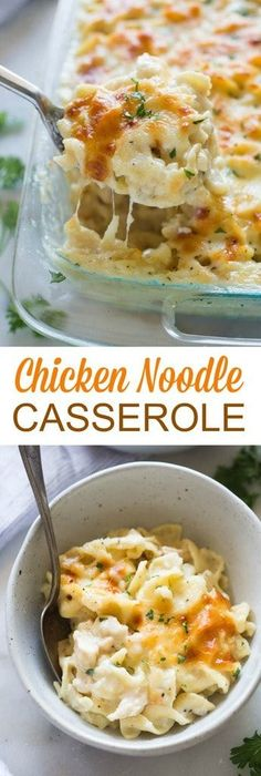 Comforting chicken noodle casserole with a simple homemade white sauce, cheese, chicken and egg noodles. My family loves this easy recipe!  #chicken #noodles #familyfriendly #dinner via @betrfromscratch