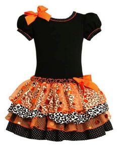 Girls Halloween Fall Knit Mixed Skirt Dress