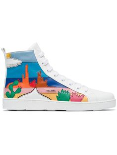 Shop Prada white cactus applique leather high top sneakers