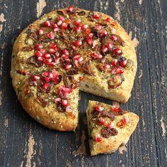 Vegan Richa: Quinoa Olive Focaccia Crust Pizza with Israeli Za'atar, Caramelized Onions and Pomegranate. vegan recipe