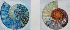 By www.samcannonart.co.uk Watercolor Artwork, Abstract Paintings, Sam Cannon, Stained Glass Panels, Coastal Art, Ammonite, Nautilus, Natural Forms, Geometric Patterns