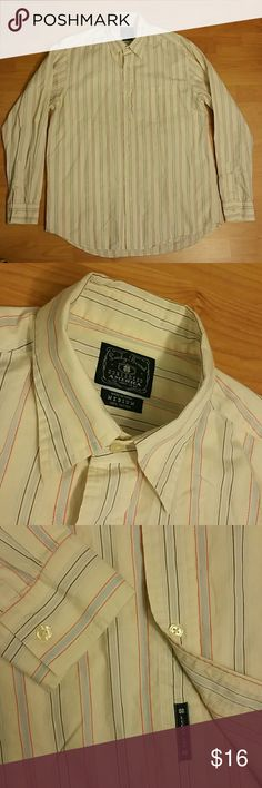 *3 for 30* Lucky Brand button up Great condition. Size medium. 100% cotton. Color is yellow with light blue, brown and orange stripes.   BUNDLE DEAL: combine any 3 button ups for $30 or 2 button ups for $20 ($14 button ups/sweaters only). Just send me a bundle offer. Thanks! Lucky Brand Shirts Casual Button Down Shirts