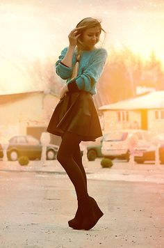 Teal Sweater, Black Skirt, Black Tights, Black Wedges.