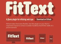 FitText makes font-sizes flexible. Use this plugin on your fluid or responsive layout to achieve scalable headlines that fill the width of a parent element. Responsive Site, Responsive Web Design, Web Design Tools, Tool Design, Design Ideas, Design Web, Media Design, Web Development Tools, Online Tutorials