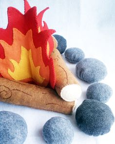 Felt Campfire Plush Playset flames logs and rocks by Kklaus, $93.50