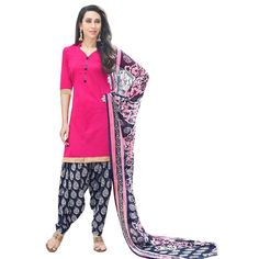 af23178f29 Kesu Fashion Women's Printed Unstitched Salwar Suit Material In Cotton  Fabric (KURN1016) Pink
