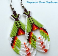 Native American Beaded Earrings  Tipis  Lime Green by CheyenneNoon