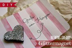 sonnengedanken: DIY: Valentinstags-Giveaway: Glitzermagnet