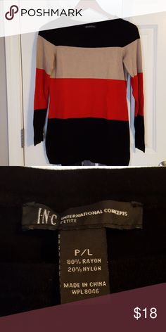 Color block sweater Like new condition. Black red and tan color block sweater. International Concepts brand. No rips or stains. From a smoke-free home. INC International Concepts Sweaters Crew & Scoop Necks