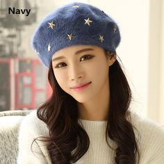 Knit beret hat star decoration winter hats for women