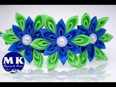 Мастер-класс Канзаши.Цветы из лент.Цветы Канзаши/The band on the head.Kanzashi flower - YouTube