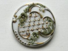 Pretty Antique Victorian White Glass Button Green Flowers and Gold Accents