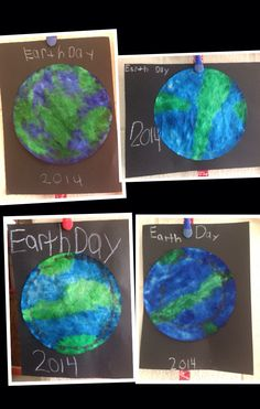 Coffee filter + markers + water spray bottle = easy, fun, cool, Earth Day art!