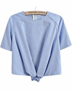 Blue Short Sleeve Striped Crop Blouse pictures