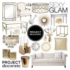 """Project Decorate: Sexy Glam With Honey We're Home"" by dingonunnu ❤ liked on Polyvore featuring interior, interiors, interior design, home, home decor, interior decorating, Nate Berkus, Ballard Designs, West Elm and Christy"