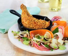 Krydret kyllinglår med bønnesalat Ratatouille, Salmon Burgers, Meat, Chicken, Ethnic Recipes, Food, Essen, Meals, Yemek