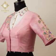 Pastels that sooth the eyes. Stunning blush pink color designer blouse with floral design hand embroidery thread work. Saree Blouse Neck Designs, Fancy Blouse Designs, Bridal Blouse Designs, Stylish Blouse Design, Hand Work Blouse Design, Designer Blouse Patterns, Blouse Models, Lehenga Blouse, Blouse Styles