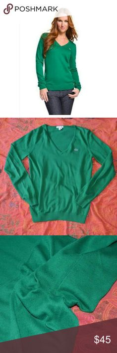 green lacoste v neck sweater size 38 eur 8 us GUC light piling under arms. 85% cotton 15 cashmere. Lacoste Sweaters