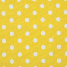 J.Swafing Baumwoll Popeline Stoff Polka Dots Punkte Tupfen gelb weiß
