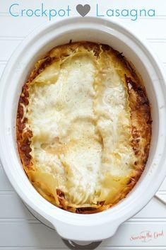 Crockpot Lasagna Recipe Video Included from savoringthegood.com