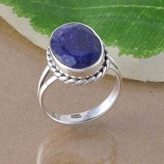 925 SOLID STERLING SILVER ANTIQUE SAPPHIRE EXCLUSIVE RING 3.90g DJR2597 SIZE 6 #Handmade #Ring