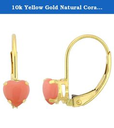 10k Yellow Gold Natural Coral Leverback Earrings 4mm Heart Shape 0.50 ct, 9/16 inch. Simplicity of design has nothing to do with cost, and everything to do to bringing out and highlighting the natural beauty of things, and in this case a beautiful matched pair of genuine gemstones. To highlight your mood, match the color of your eyes or your outfit, or just simply to be your birthstones. These earrings are 10 karat gold. There are no earring backs to lose or fuss with, and there are no…