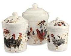 Rooster Francais Canisters These whimsical airtight canisters are a perfect addition to any country kitchen. ($119 for set of three, williams-sonoma.com