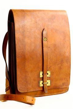 Vintage French Leather Satchel Ipad Bag by CrolAndCo on Etsy
