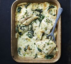 This creamy fish bake has thin layers of sliced celeriac a little like potatoes dauphinoise. Serve with a sprinkle of chives Bbc Good Food Recipes, Top Recipes, Yummy Food, Amazing Recipes, Spinach Gratin, Creamed Spinach, Shellfish Recipes, Seafood Recipes, Seafood Meals