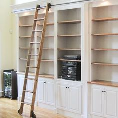 Quiet Glide 9 Ft Red Oak Standard Rolling Ladder with Rail Kit Rail Finish: Bronze, Rail Length: 12 Ft, Mounting Bracket Style: Horizontal Ladder, Bookshelves Built In, House, Bookcase, Rolling Ladder, Home, Home Library Design, Home Decor, Room