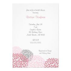 Pink and Grey Dahlia Baby or Bridal Shower Invite