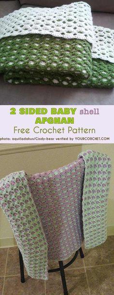 2 Sided Baby Shell Afghan - Reversible -Free Crochet Pattern #freecrochetpatterns #crochetblanket #shell