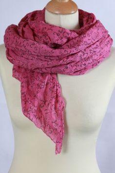 Chèche en coton rose imprimé fleurs de cachemire