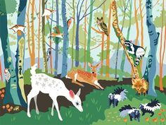 """Meeting in the Woods"" artwork for kids' rooms by Betsy Olmsted for Oopsy Daisy, Fine Art for Kids $119"