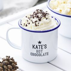 Hot Chocolate Personalised Enamel Mug- I really want me and Chris to have matching ones!