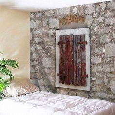 Wood Window Stone Wall Print Fabric Tapestry - GRAY W71 INCH * L91 INCH