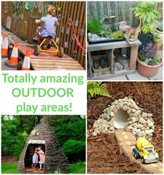 Be inspired by these totally amazing ideas for outdoor play spaces, with dens, nooks, climbing structures, mud kitchens and more for the backyard play area! Natural Playground, Backyard Playground, Backyard For Kids, Backyard Games, Playground Ideas, Outdoor Play Spaces, Outdoor Fun, Outdoor Games, Kids Play Area