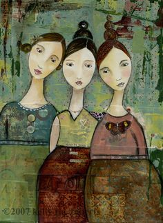 ∴ Trios ∴ the three graces & groups of 3 in art and photos - Kelly Rae Roberts Art And Illustration, Illustrations, Kelly Rae Roberts, Heart Wall Art, Whimsical Art, Face Art, Art Faces, Medium Art, Oeuvre D'art