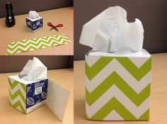 Don't forget to decorate your ordinary tissue box! Britt. O. used CTP's newest Chevron Lime Green Border