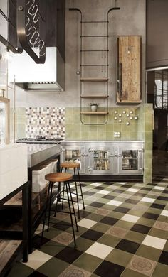 Yummy Industrial Kitchen. Celadon, sage and grey neutrals.  These colors are very subtle and soothing.