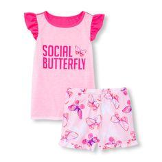 Girls Short Flutter Sleeve Neon 'Social Butterfly' Top And Butterfly Print Shorts PJ Set