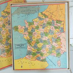 Vintage French Wooden Jigsaw Map of France.