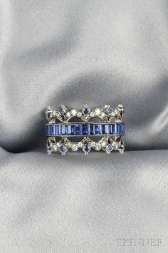 18kt White Gold, Sapphire, and Diamond Band, Fred Leighton | Sale Number 2624B, Lot Number 469 | Skinner Auctioneers
