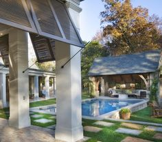 Not pinning this because of the pool, I rather like the shutters. This Nashville, Tennessee home meanders around courtyards and a beautiful swimming pool. Outdoor Rooms, Outdoor Living, Outdoor Decor, Outdoor Photos, Indoor Outdoor, Swimming Pool Designs, Swimming Pools, Lap Pools, Indoor Pools