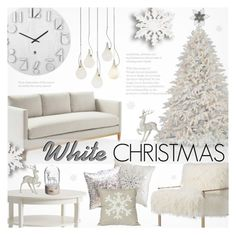 """""""Dreaming of a White Christmas"""" by alexandrazeres ❤ liked on Polyvore featuring interior, interiors, interior design, home, home decor, interior decorating, Axel, Umbra, Disney and Allstate Floral"""